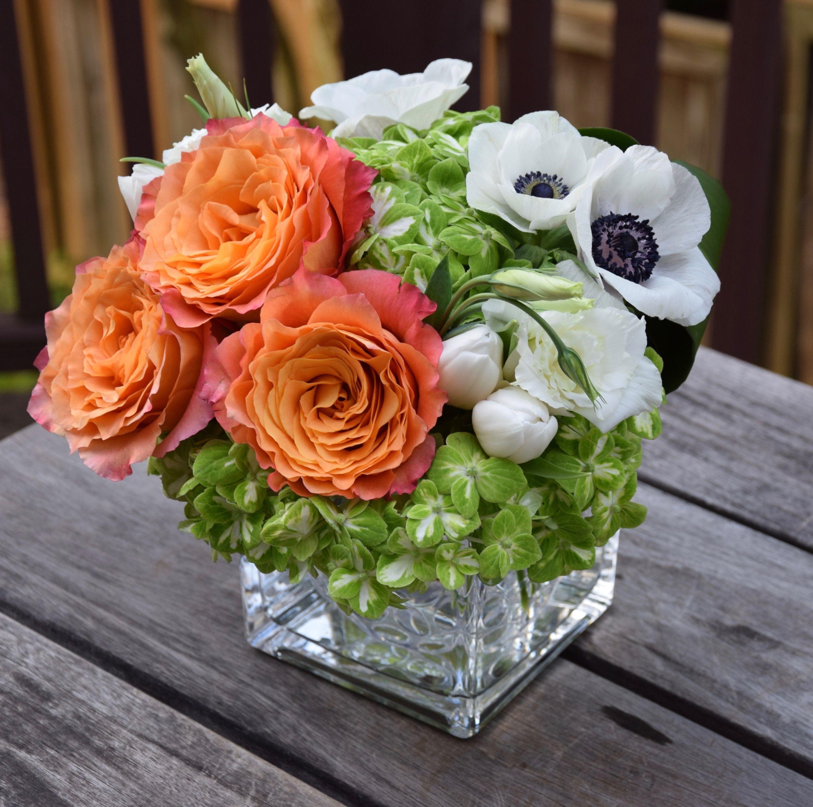 Fresh Flowers In A Vase Anemone Free Spirit Rose Hydrangeas