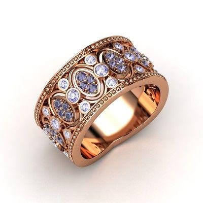 The Renaissance Band #customizable #jewelry #iolite #tanzanite #rosegold #ring