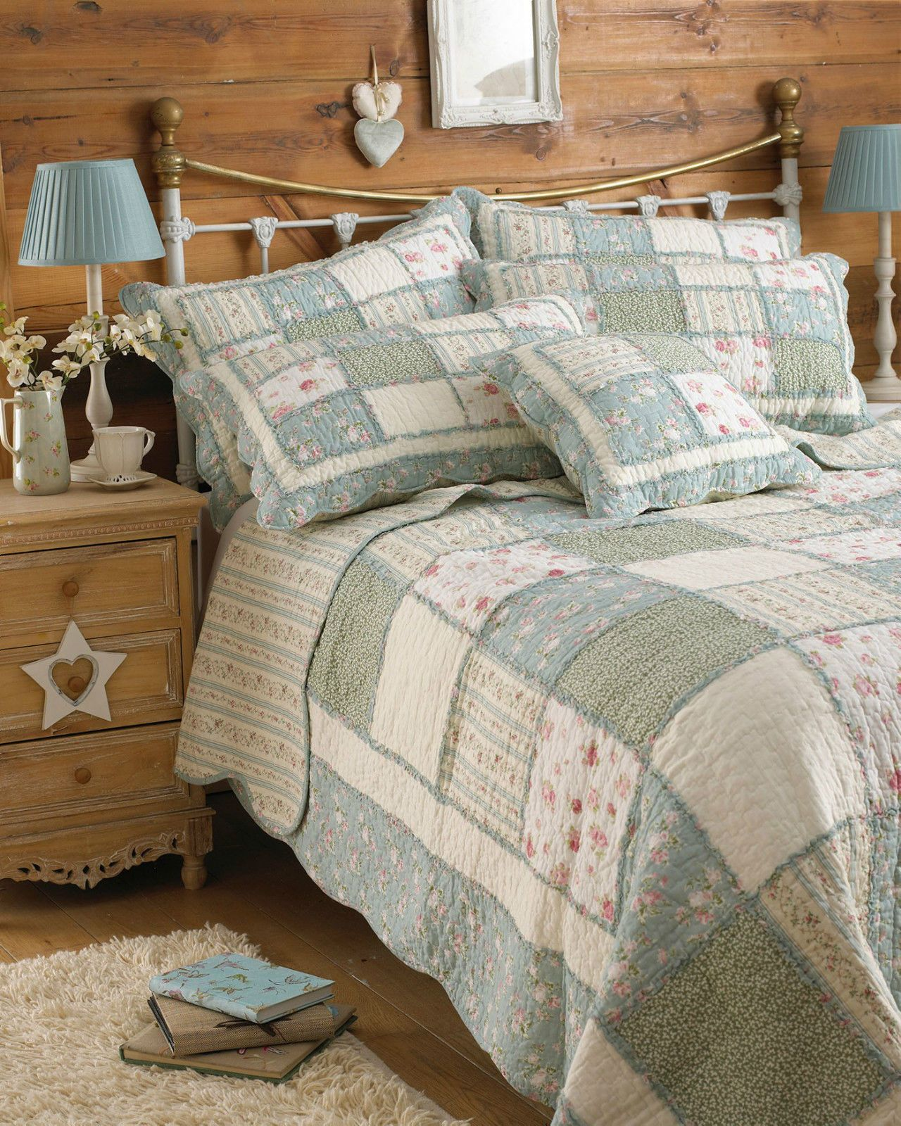 Patchwork Bedspread Throw 100 Cotton Quilt Blanket Shabby Chic Duck Egg Blue Bed Spreads Quilted Bedspreads Bedding Shop