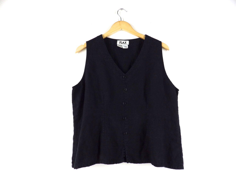Vintage minimalist sleeveless black blouse Size M