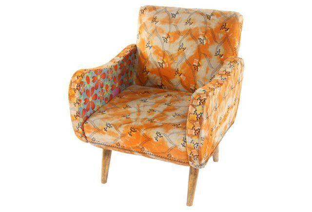 Best Kantha Accent Chair Orange Blue Blue Accent Chairs 400 x 300