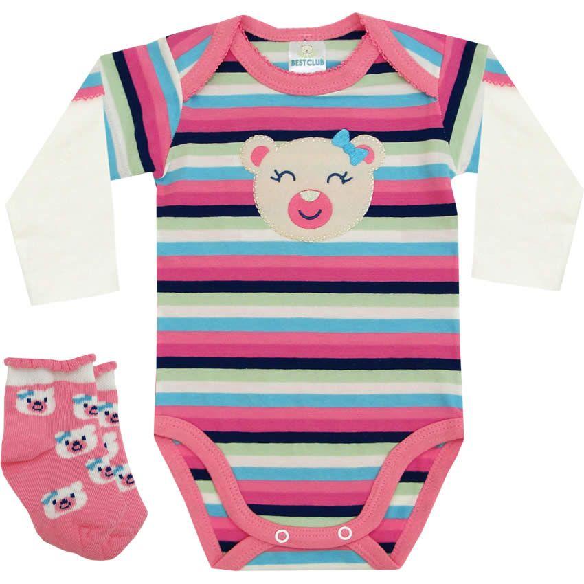 Body Recém Nascido e Bebê Menina Ursinha com Meia Rosa - Best Club :: 764 Kids | Roupa bebê e infantil