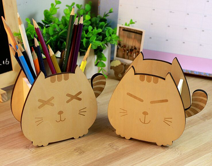 Cute Wood Sleeping Cat U0026 Smiling Cat Pencil Pen Holders Desktop Organizers  Containers Home Office Desk