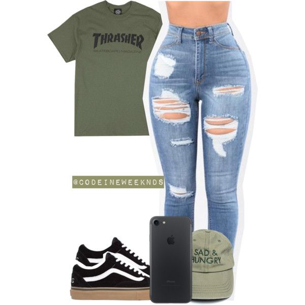 Graphic t shirt, ripped jeans, vans, olive baseball cap