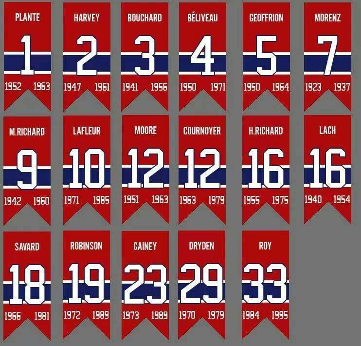 new product d7a77 fd404 Montreal Canadiens retired jerseys. Need to add #6 for Toe ...