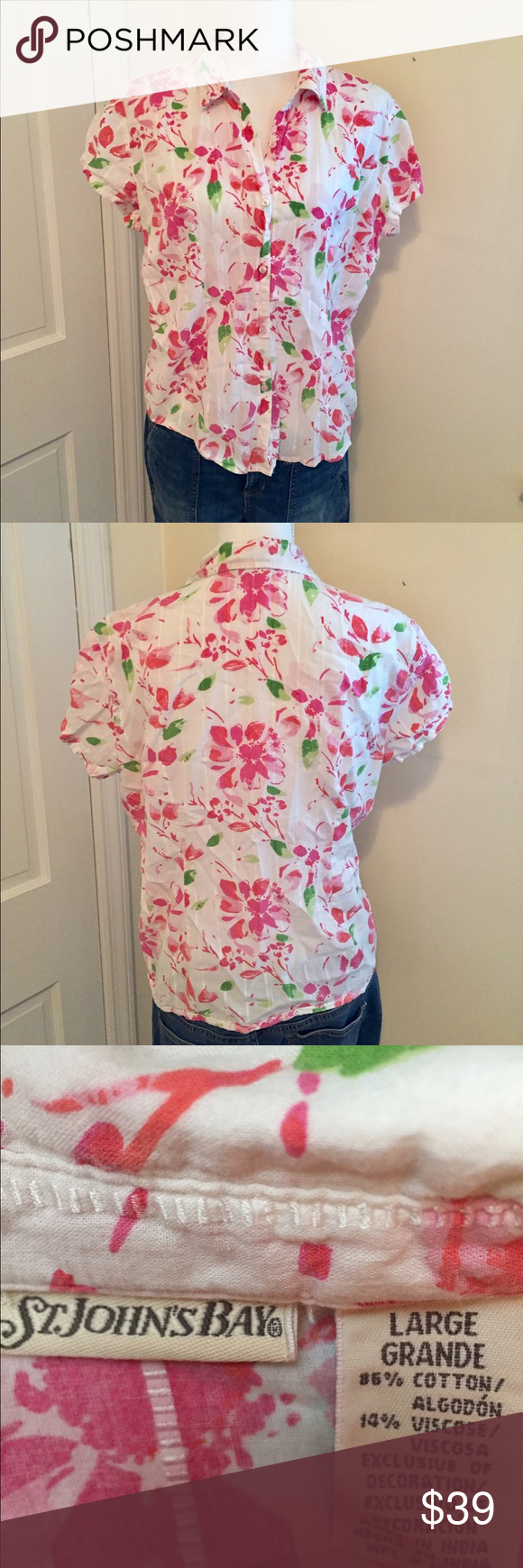 Floral Summer Blouse 🍃🌷🍃 Ready, Set, Summer! Perfect and cool material. Lovely floral pattern 🍃💐🍃 St. John's Bay Tops