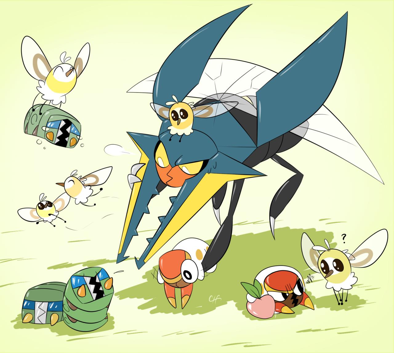 Vikavolt Charjabug Grubbin Cutiefly Pokémon Pinterest