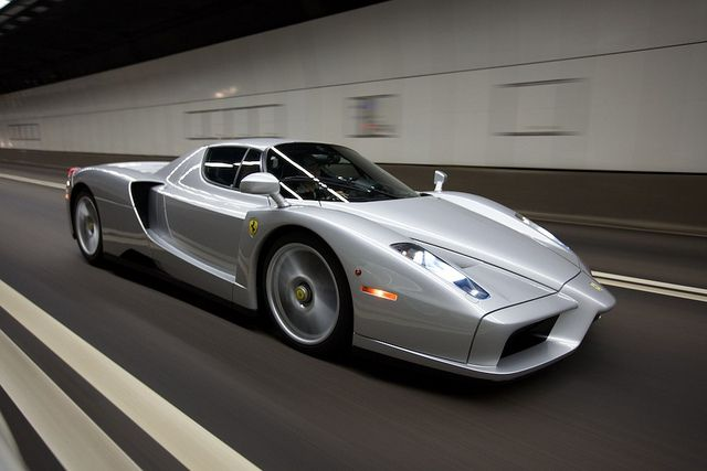 Silver Ferrari Enzo...would cool to get behind the wheel just once