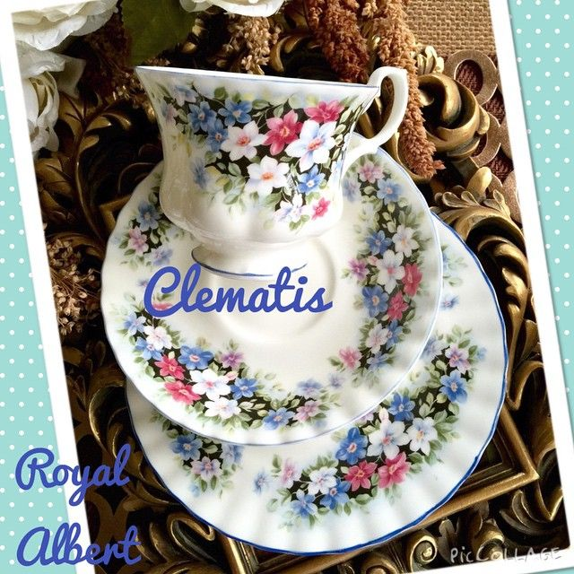 Vintage Royal Albert's Fragrance series pattern - Clematis. Trio set. Made in England