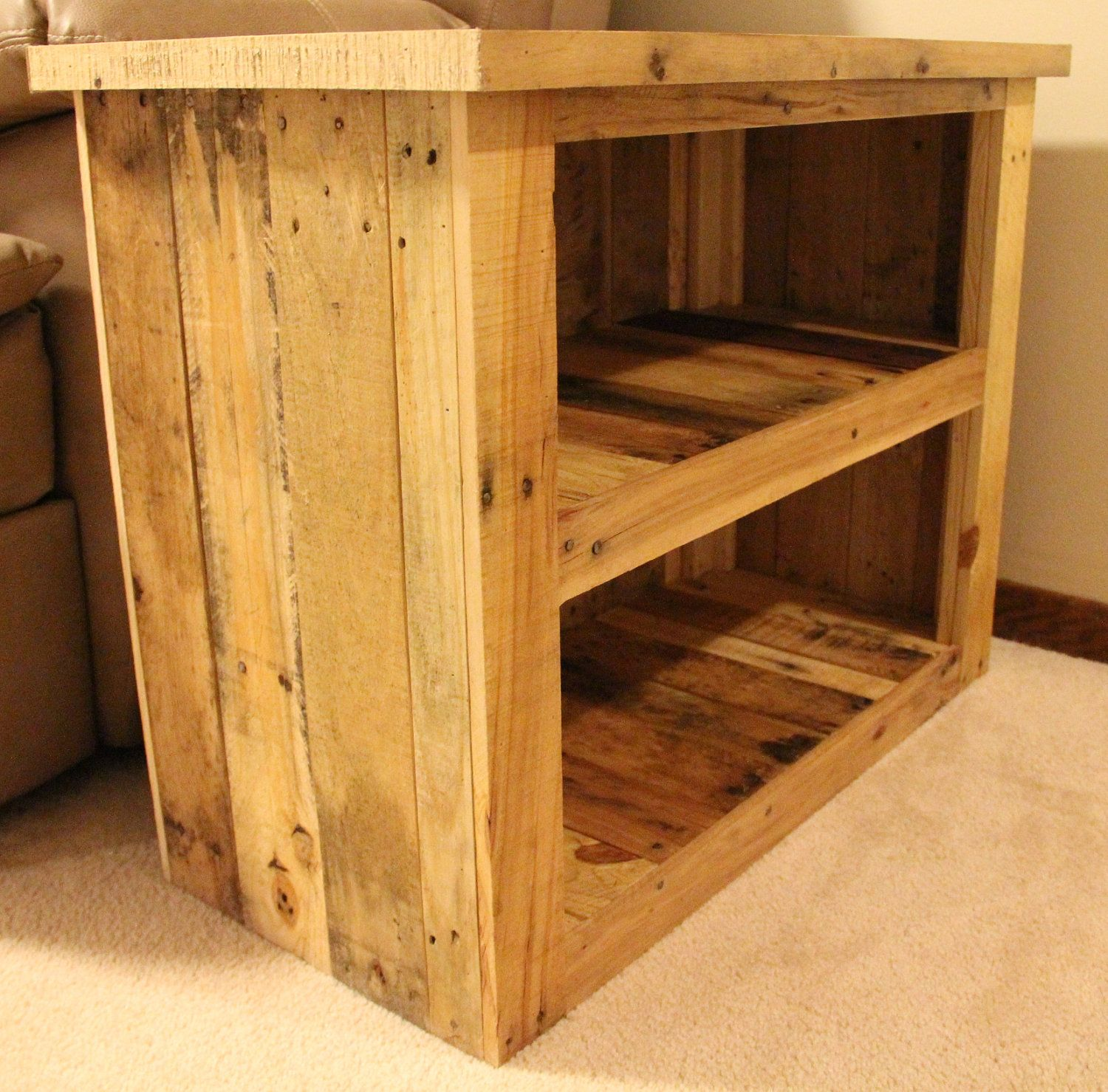 Side table made from shipping pallets 15000 via etsy side table made from shipping pallets 15000 via etsy geotapseo Choice Image