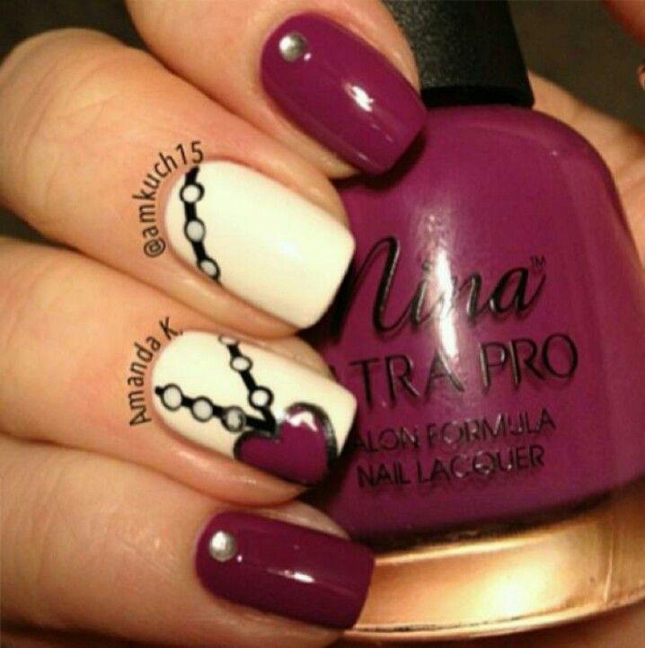 Love heart necklace nail art design | Nails, nails, nails ...