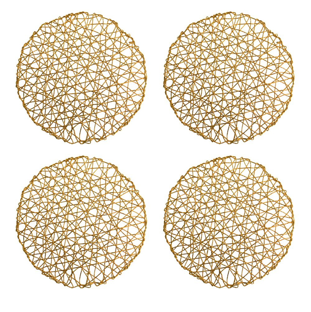 Holiday Decorative 15 Round Woven Metallic Foil Shining Placemats Charger Set Of 4 Gold Walmart Com In 2021 Metallic Foil Placemats Chargers Placemats