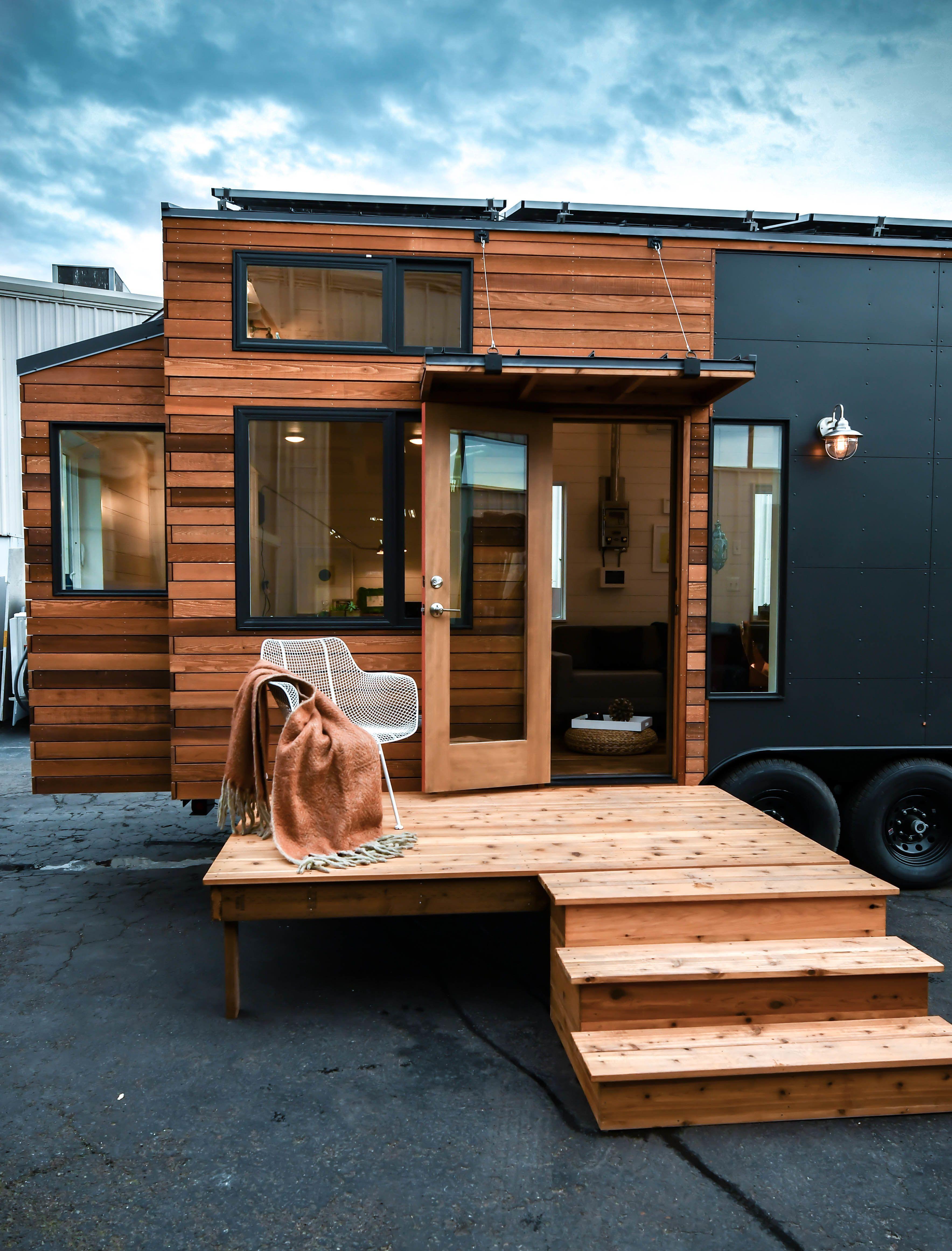 Tru Form Tiny S Photos From Solar Tiny For Family Of 5 Tiny House Exterior Tiny House Design Modern Tiny House