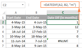 DATEDIF formula to calculate months between two dates | Excel, Dating, Data  analytics