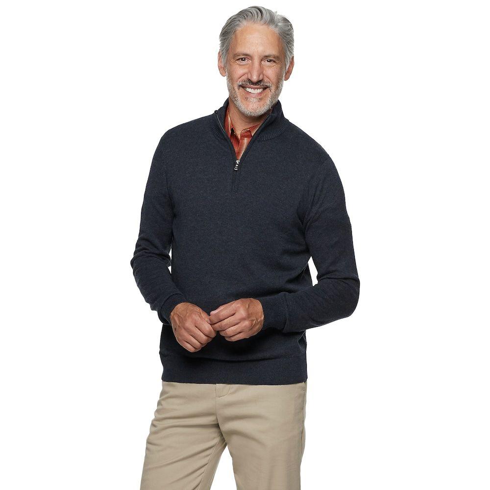 Men S Croft Barrow Easy Care Quarter Zip Sweater Zip Sweater