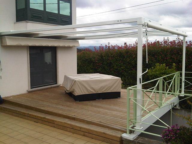 Terraza Con Estructura En Aluminio Lacado Blanco Para