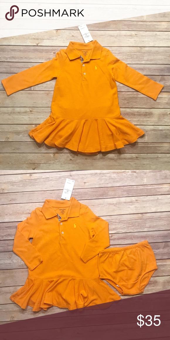 478140c9e Ralph Lauren Baby Girl Dress Sun Orange Ralph Lauren Baby Girl Dress. 100%  Cotton. Diaper Cover Included. NWT. Size 24 months Ralph Lauren Dresses