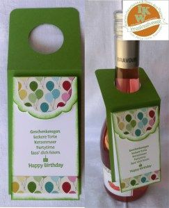Flaschenanhänger inclusive Banderole für Geldschein/Gutschein und Platz für persönliche Worte