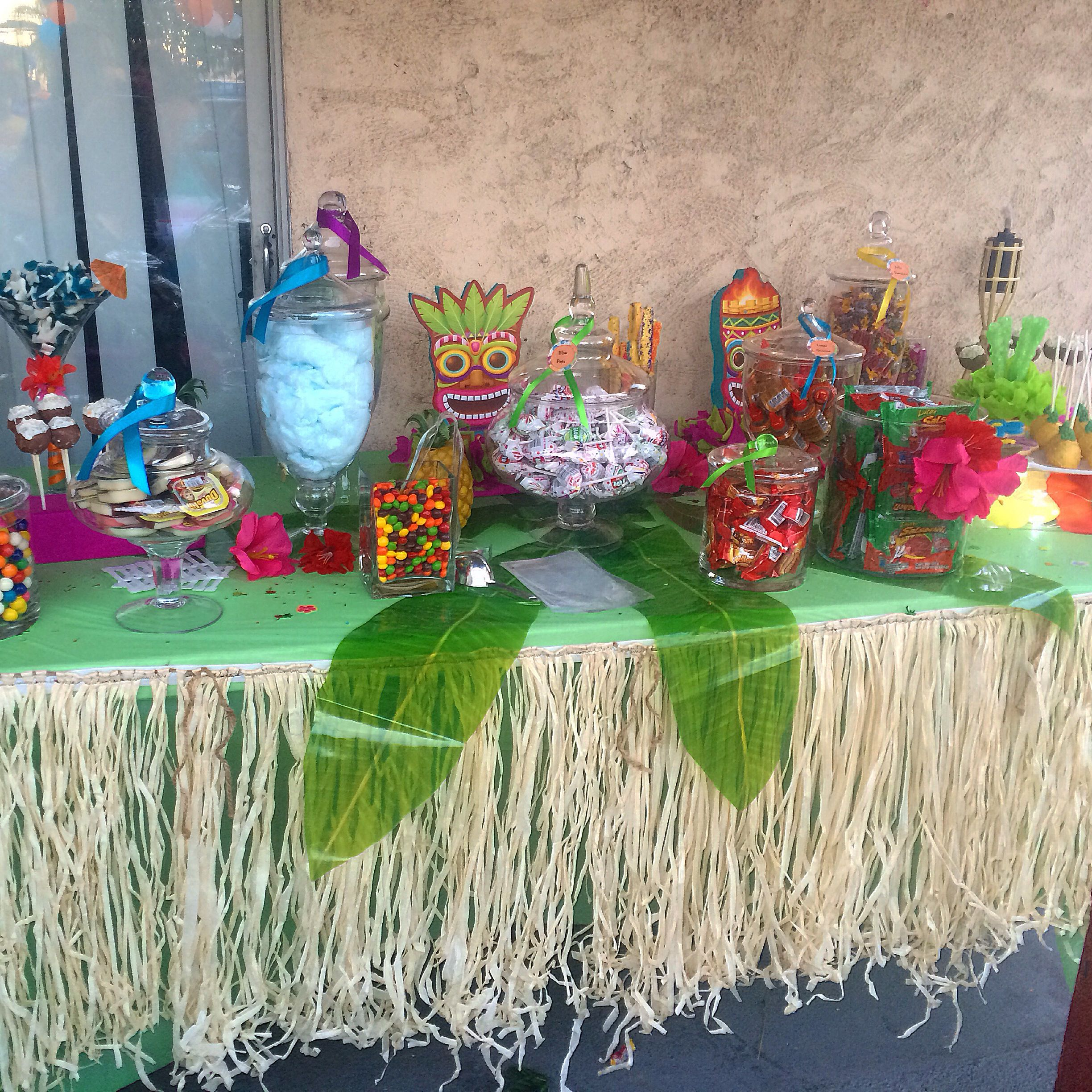 Birthday Party Buffet Table: Luau Candy Table Candy Buffet Hawaiian Candy Buffet