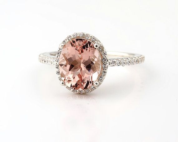 Natural AAA Pink Morganite Solid 14K White Gold by GNGJewel, $738.00