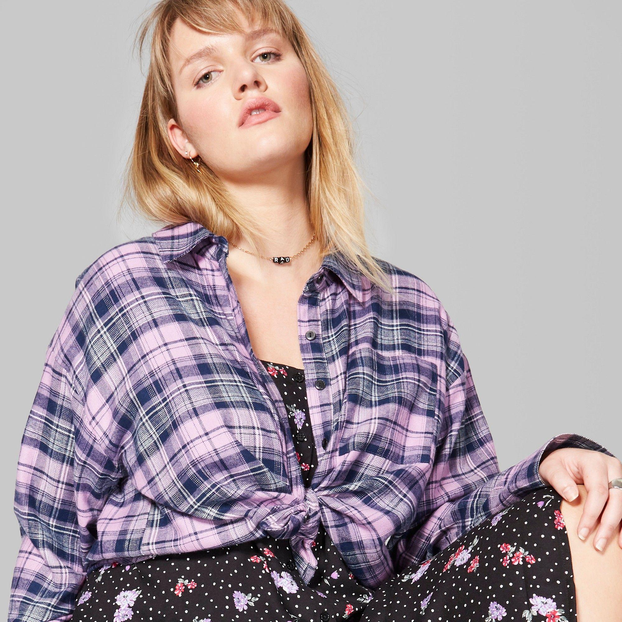 cac1e6fc Women's Plus Size Plaid Long Sleeve Button-Down Flannel Shirt - Wild Fable  Pink 3X, Purple