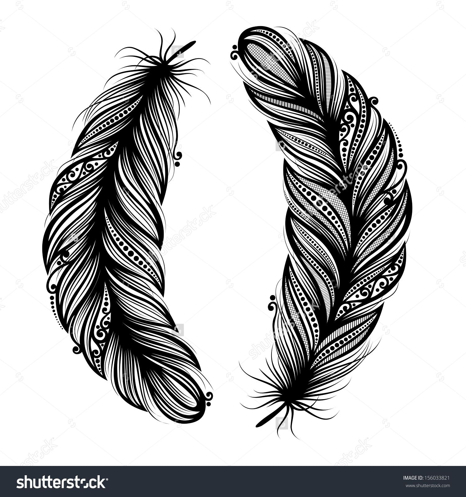 peerless decorative feather vector patterned design tattoo shutterstock inspira o b. Black Bedroom Furniture Sets. Home Design Ideas