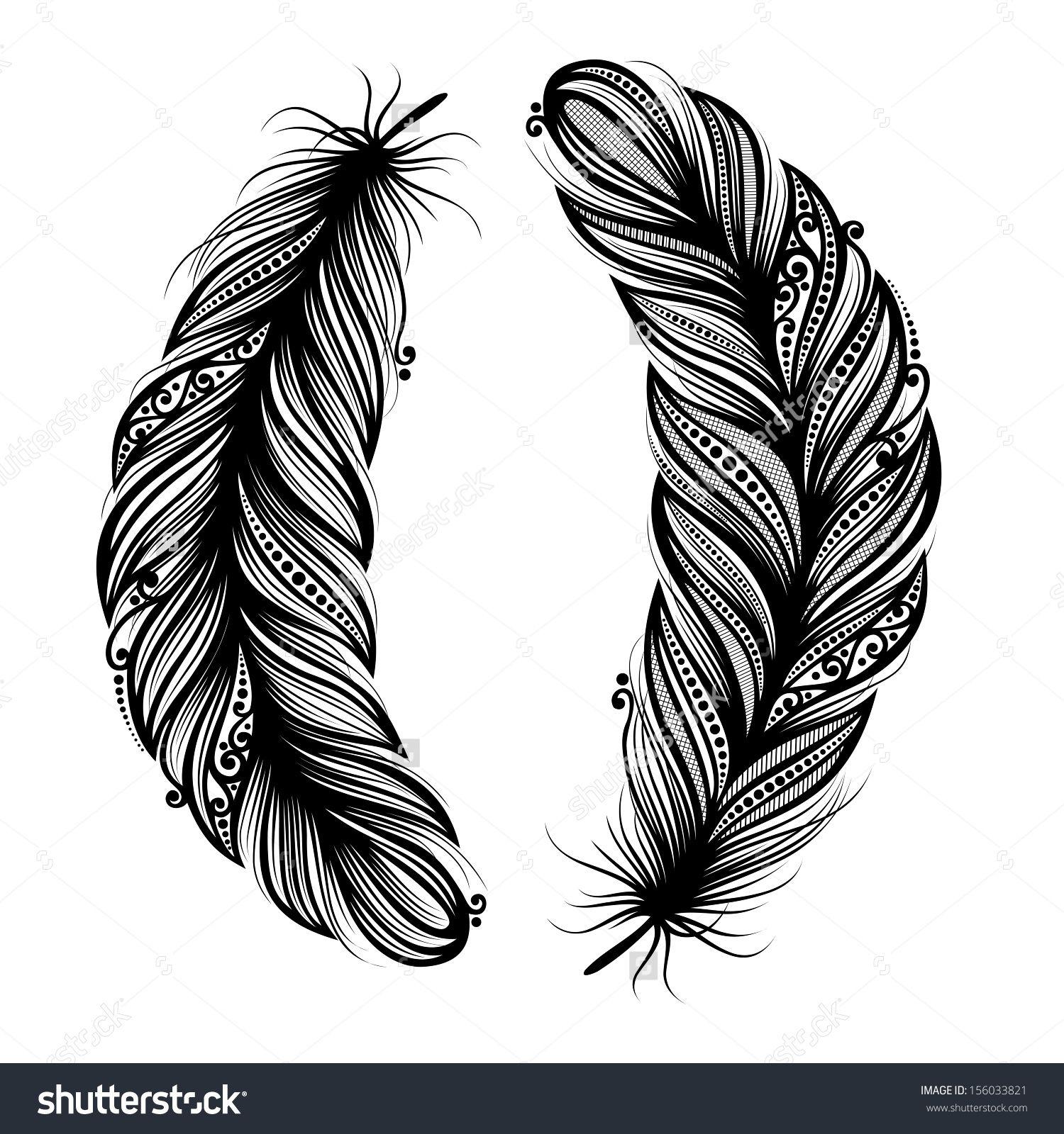 peerless decorative feather vector patterned design tattoo shutterstock inspira o b. Black Bedroom Furniture Sets. Home Design Ideas