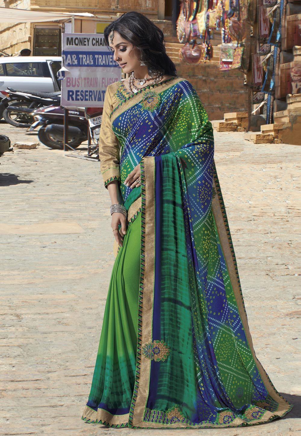 Georgette Green Print Work Casual Saree | Casual saree