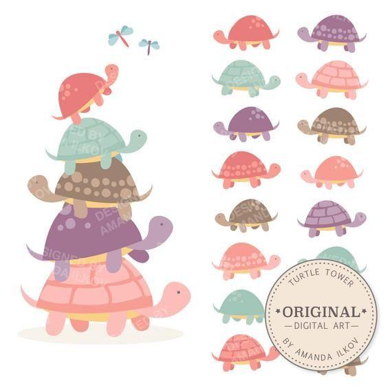Premium Girls Turtle Tower Clip Art Vectors Pink Turtles Etsy Turtle Clipart Clip Art Turtle Design