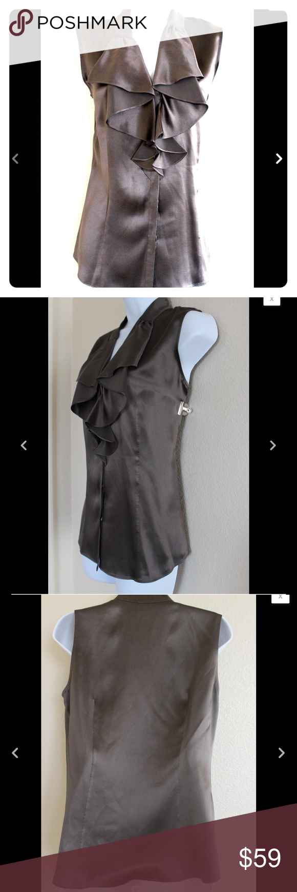 """💟New Listing💟Lafayette 148 New York 100% Silk Lafayette 148 New York Top  Size 4  Brown  100% Silk  Button Closure  Would make a great gift for a loved one or special treat for yourself!  Measurements while laying flat:  Shoulder to Shoulder 15""""  Armpit to Armpit 19""""  Length from Shoulder 24 1/2""""  Waist 17"""" Lafayette 148 New York Tops Blouses"""