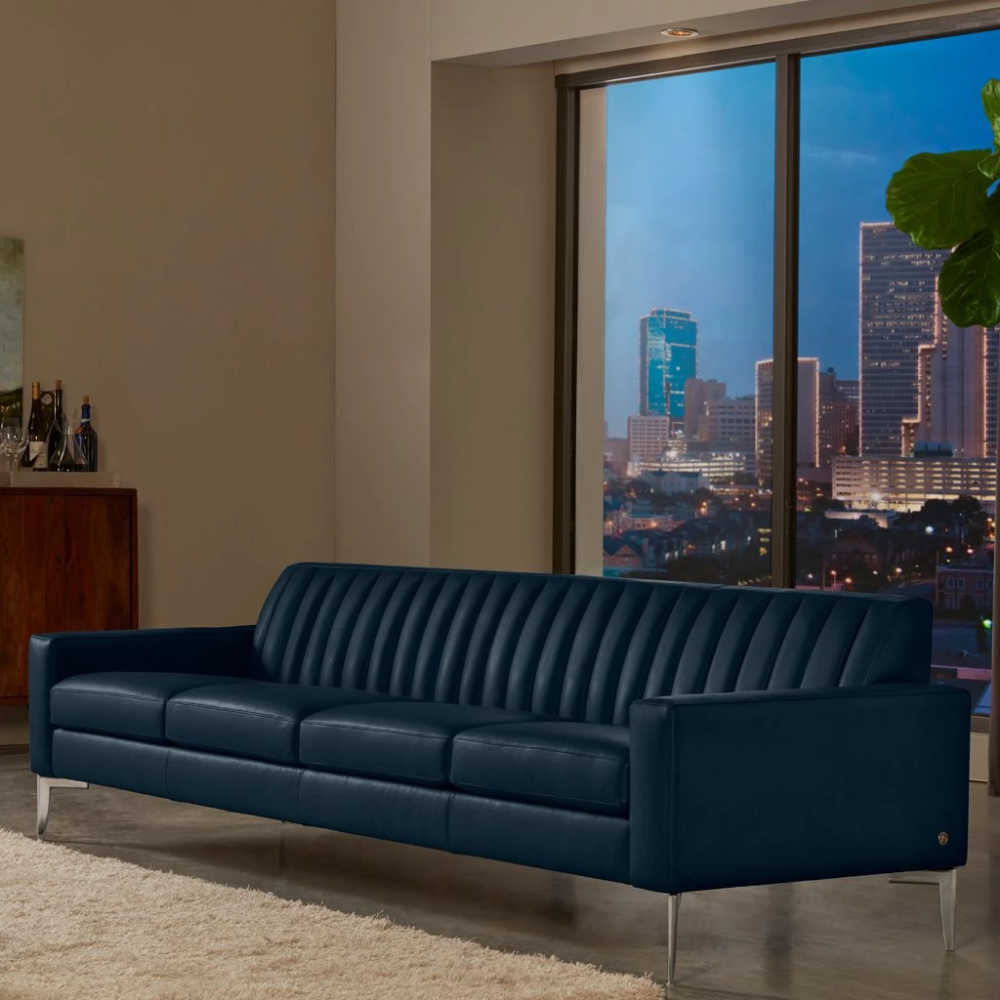 Rayna Sofa By American Leather Satori Midnight Blue Leather