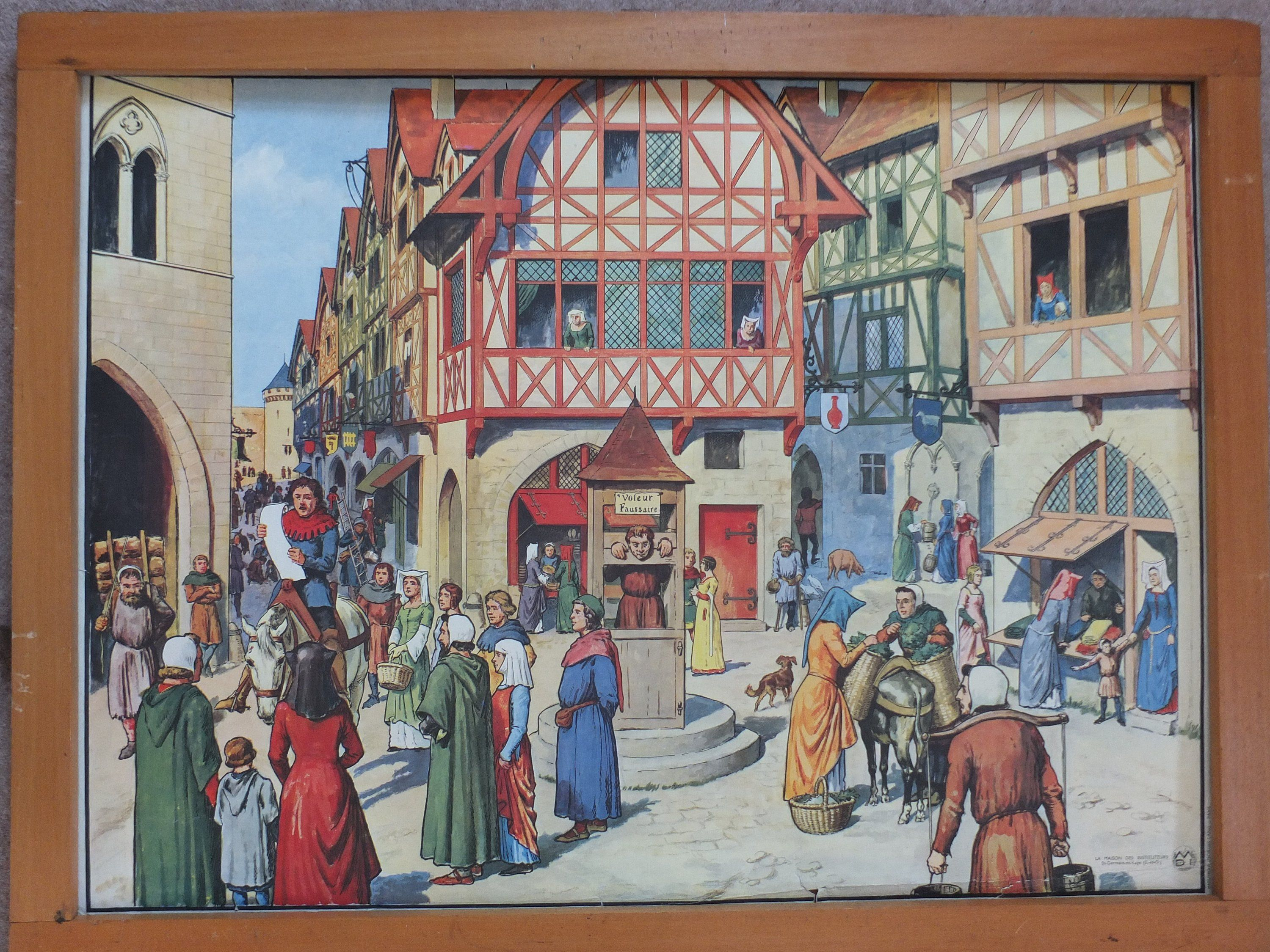 Vintage French School Poster Middle Ages City Life Build Etsy School Posters French School Medieval Paintings