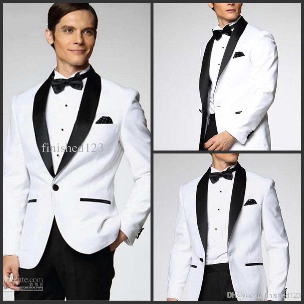 Top Selling White With Black Satin Lapel Groom Tuxedos More Style ...