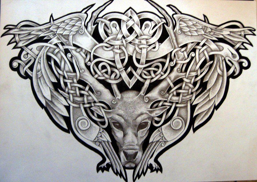 celtic stag and birds by tattoo design on deviantart. Black Bedroom Furniture Sets. Home Design Ideas