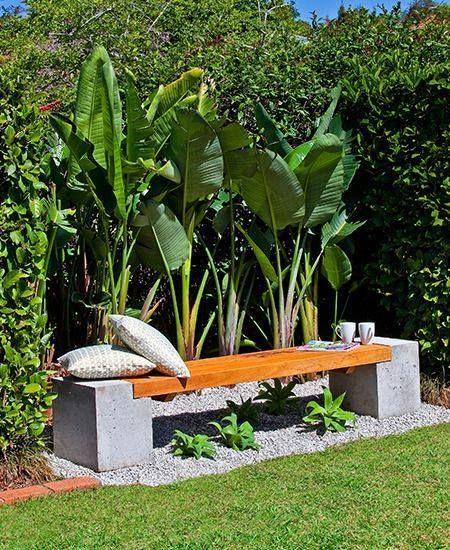 Concreto deco jardin Pinterest Jardín, Diseños de jardines y - jardines con bancas
