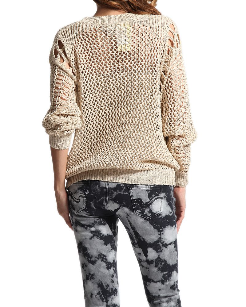 Themogan metallic open knit sweater oversized long sleeve crochet crochet oversized crochet sweater pattern bankloansurffo Choice Image