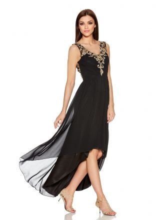 a5525e8bfae Black And Gold V Neck Mesh Chiffon Dip Hem Dress - Quiz Clothing ...
