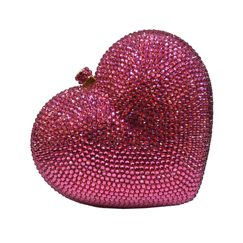 POSH GIRL Pink I Heart You Rhinestone Clutch Bag  You will love our I Heart You clutch bag heart-shaped and covered in pink rhinestones, gold lining, removable  gold chain strap. MSRP: $208.00