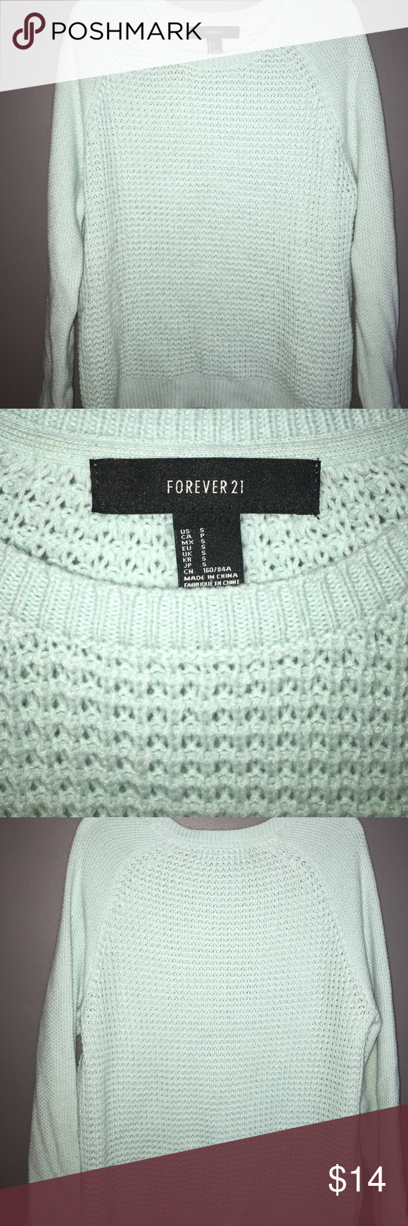 Mint sweater This is a super comfy mint color sweater! Runs big Forever 21 Sweaters Crew & Scoop Necks
