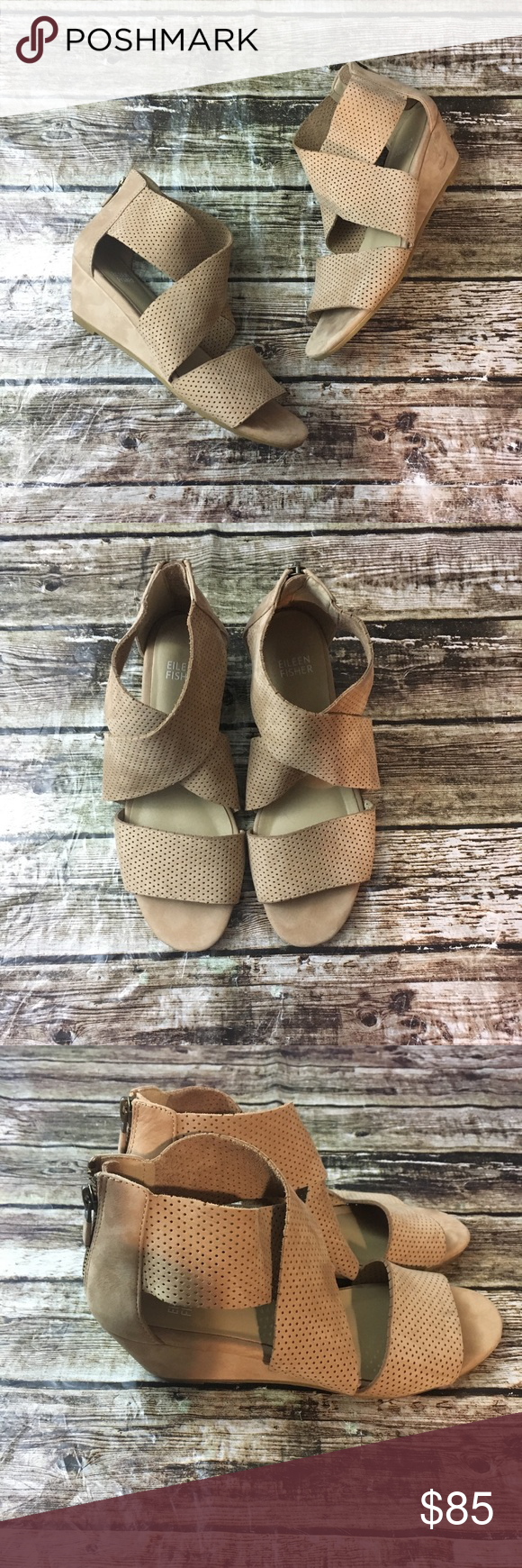 db0911aa4c9c Eileen Fisher Kes 2 Perforated Suede Wedge Sandal Eileen Fisher Kes 2  Perforated Suede Wedge Sandal, in great pre owned condition!