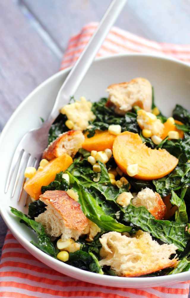 Kale Salad with Peaches, Corn, and Basil-Honey Vinaigrette ...