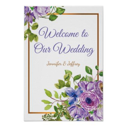 Spring Floral Flowers Purple Country Wedding Poster floral style