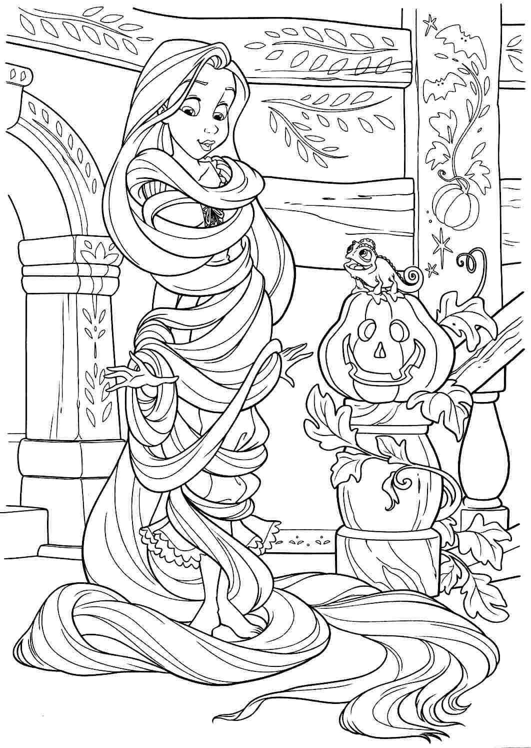 Colouring Pages Disney Princess Tangled Rapunzel Printable