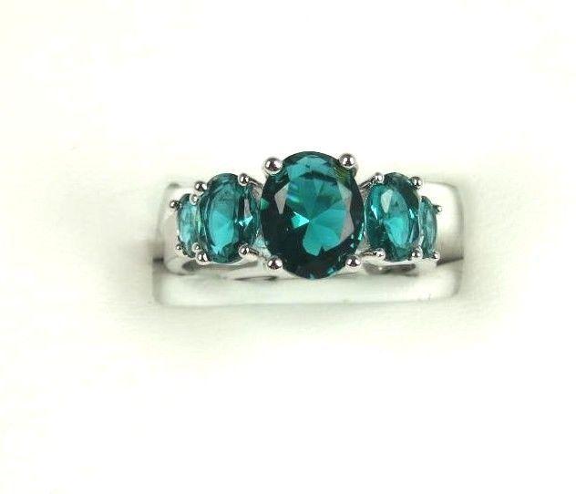 R+2922, 8x10 mm. 5-Stone Oval cut Green Emerald Ring .925 Sterling SP Sz 7 $32.39