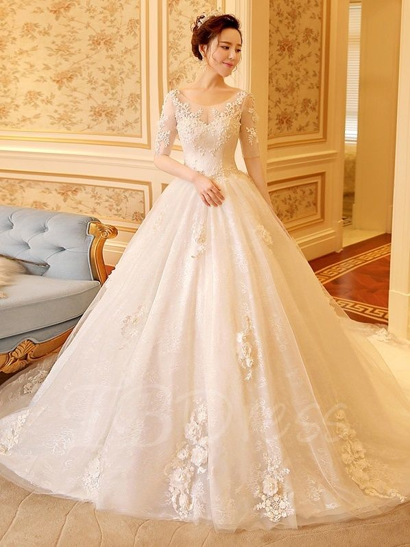 35bd431f38c9 Tbdress.com offers high quality Scoop Neck Half Sleeve Appliques Lace Ball  Gown Wedding Dress Latest Wedding Dresses unit price of $ 195.69.
