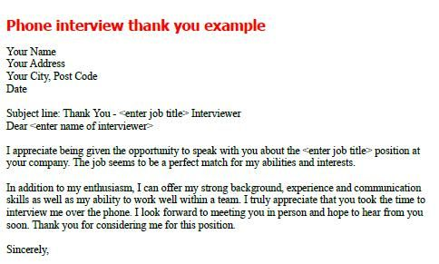 Phone Interview Thank You Note Sample  Job Seekers Forums
