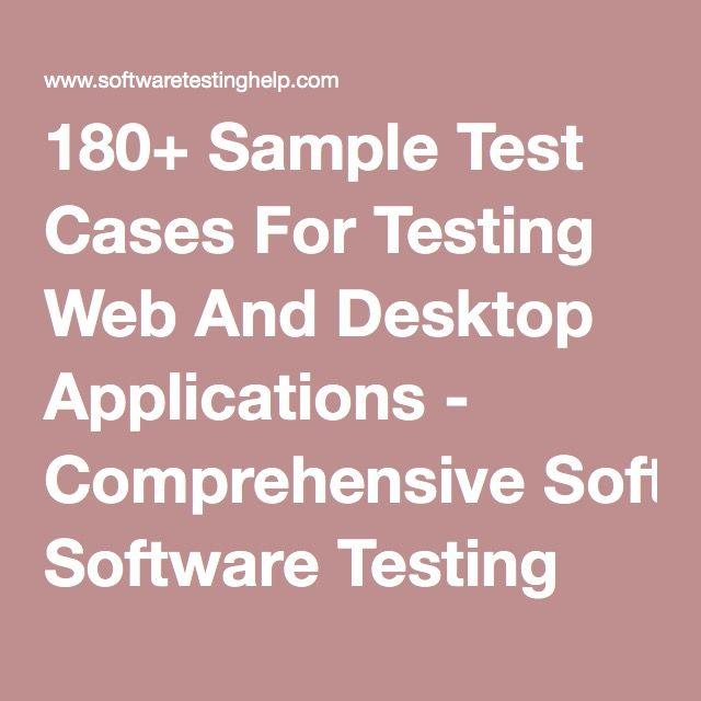 180+ Sample Test Cases For Testing Web And Desktop Applications - sample checklist