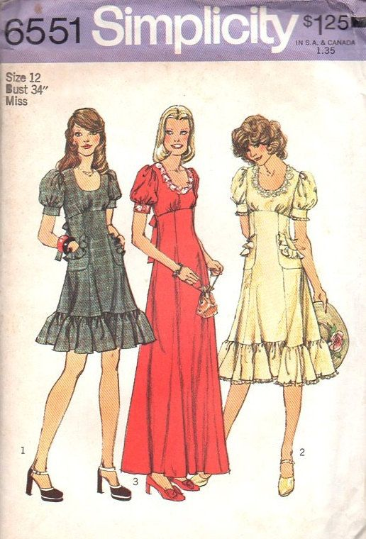 Simplicity 70s Retro Sewing Pattern 6551 Boho Hippie Style Peasant ...