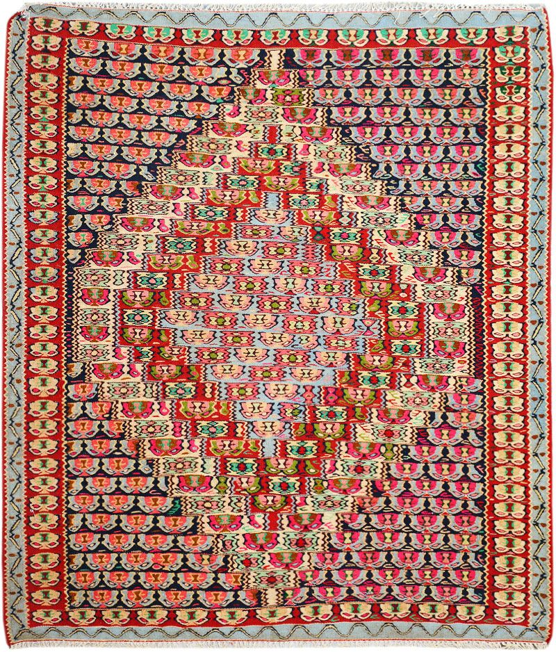 "Multi-colored  Persian Kilim 4' 2"" x 4' 11"" (ft) http://www.alrug.com/10136"