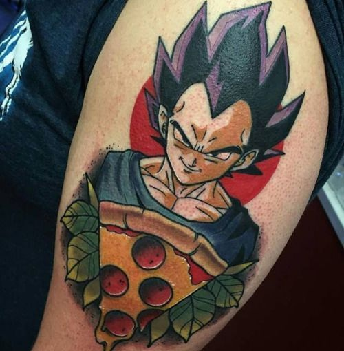 Dbz & Pizza anyone? Vegeta Pizza or Vegizza by @deadmeat from Integrity Tattoo, Royersford, PA #integritytattoo Dbz & Pizza anyone? Vegeta Pizza or Vegizza by @deadmeat from Integrity Tattoo, Royersford, PA #integritytattoo